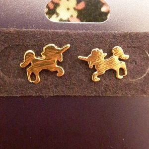 14k gold unicorn earrings